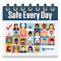 Illustration representing Tetra Tech as safe every day with icons of employees in each day of a monthly calendar.