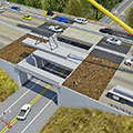 Flanders Road bridge rendering showing two-way traffic on one barrel divided by a movable barrier during the Acceler-8 p