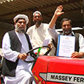 Local Afghan farmers in the Farah province purchase equipment with the Alternative Development Program grant funds.
