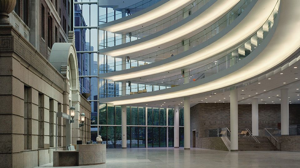 The lobby and atrium space for the New Ambulatory Care Center at New York's Bellevue Hospital Medical Center.