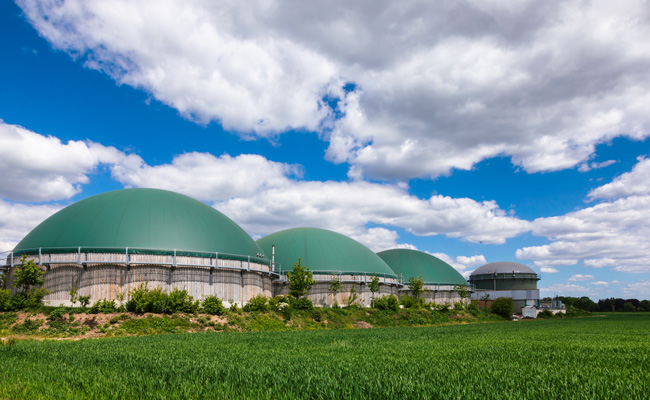 Three anaerobic digesters in a grassy area with blue sky above