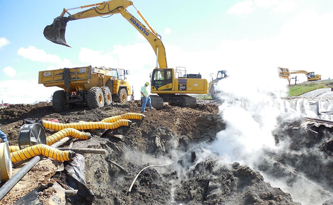 Hot landfills with temperatures exceeding 140°F damage landfill liners and pipes