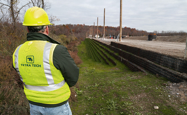 Tetra Tech employee overlooks MSE berm