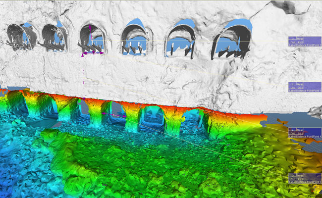 3D model made from terrestrial scanning with a Leica c10 and MBE bathymetry, colorization is shown for depth below