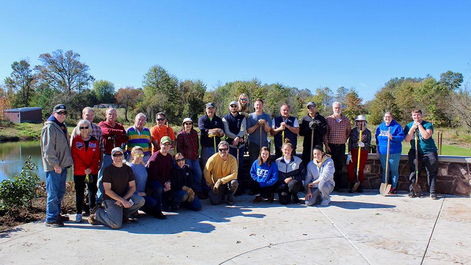 Volunteers planted over 100 deer-resistant plants and shrubs