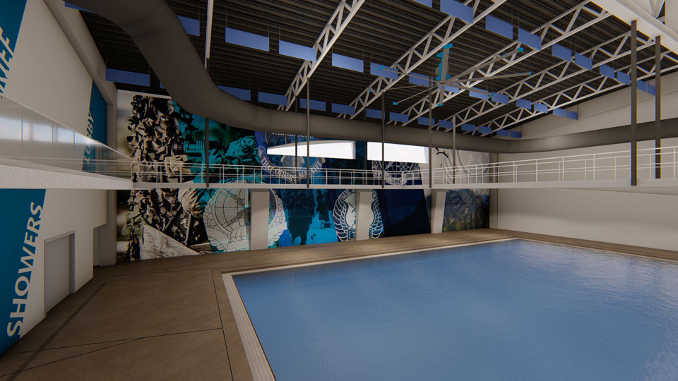 Rendering of a tank at the Special Warfare Training Group Aquatics Tank Facility, with view of observation catwalks