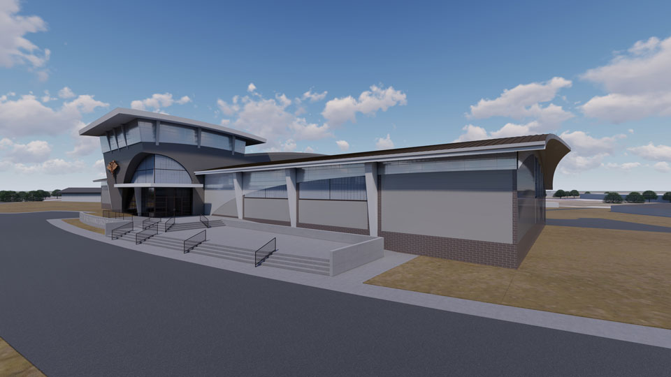 Rendering of the exterior facade of the Special Warfare Training Group Aquatics Tank Facility