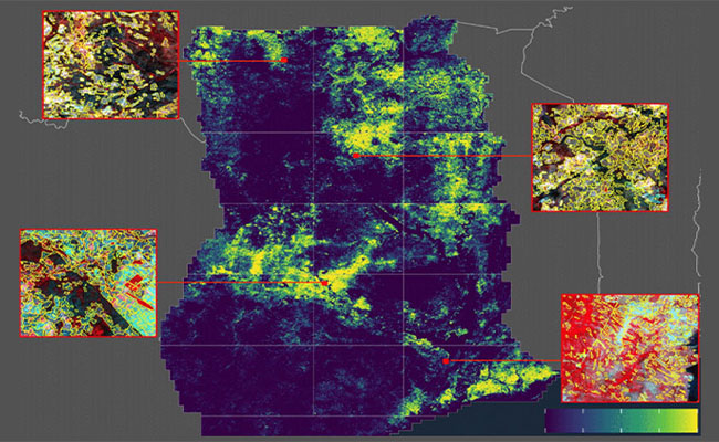 Remotely captured cropland map of Ghana from a Tetra Tech-managed program to apply machine learning to support farmers.