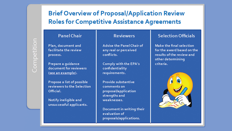 The roles and responsibilities of EPA staff were described by Tetra Tech in the training program.