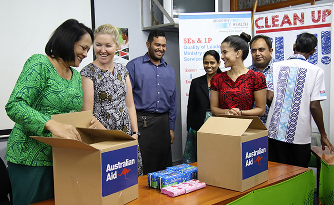 Tetra Tech supported the  Australian Government to give over 1,000 WASH kits to the Ministry of Health and Medical Servi