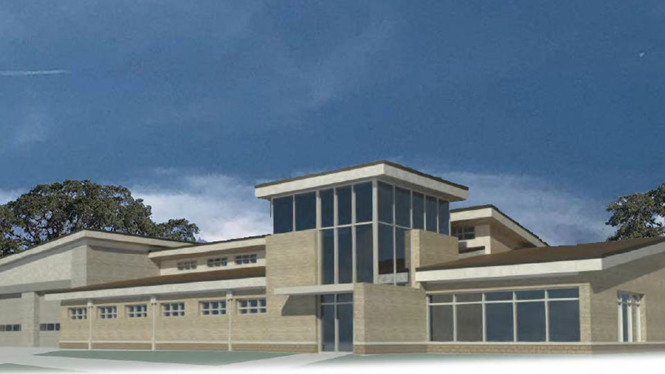 Exterior rendering of Fire Station No. 2