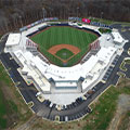 Aerial view of the completed Fredericksburg Ballpark Stadium.