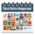 Illustration représentant Tetra Tech Sécuritaire chaque jour avec des icônes d'employés dans chaque jour d'un calendrier