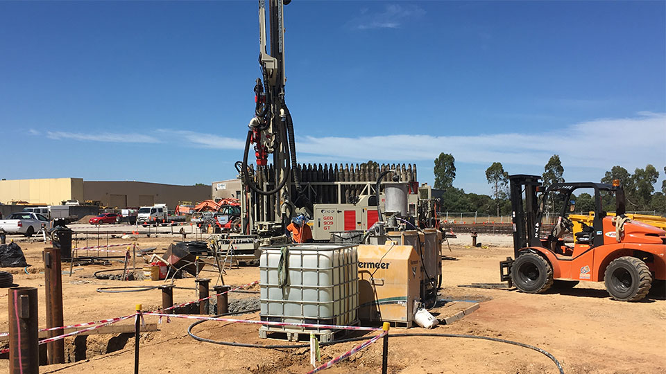 The Geothermal pilings being installed at the Tetra Tech net zero PICAC project in Victoria, Australia.