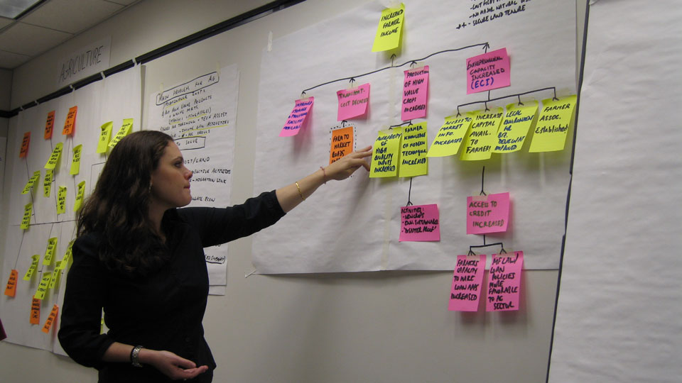 Woman pointing at post-its on a white board