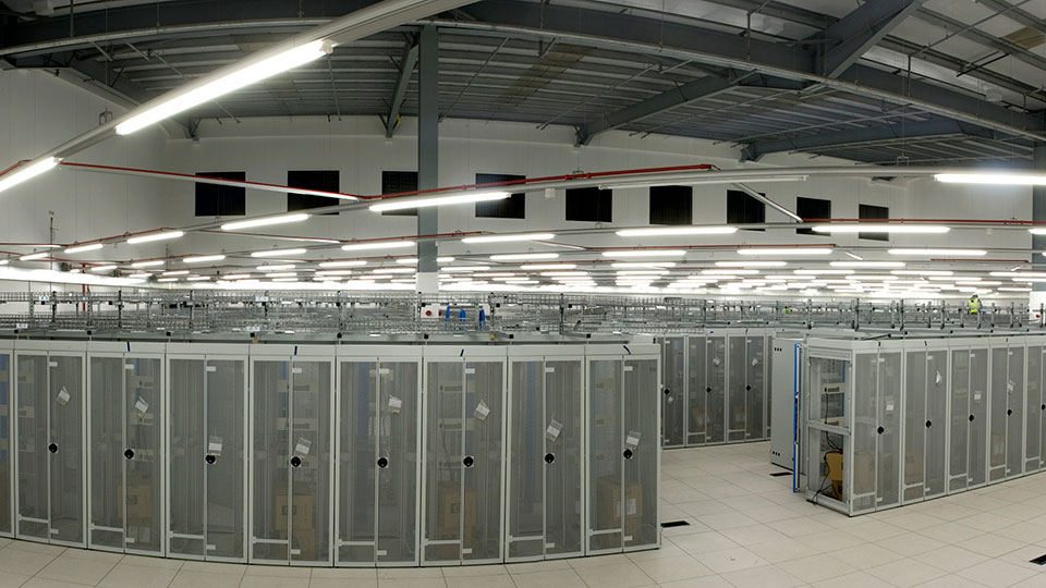 Data Center rack room panorama