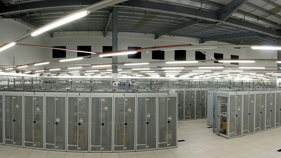 Data Center rack room panorama