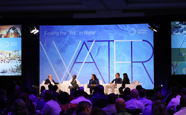 Municipal, NGO, and private sector changemakers discuss engaging others in implementing One Water at the US Water Allian
