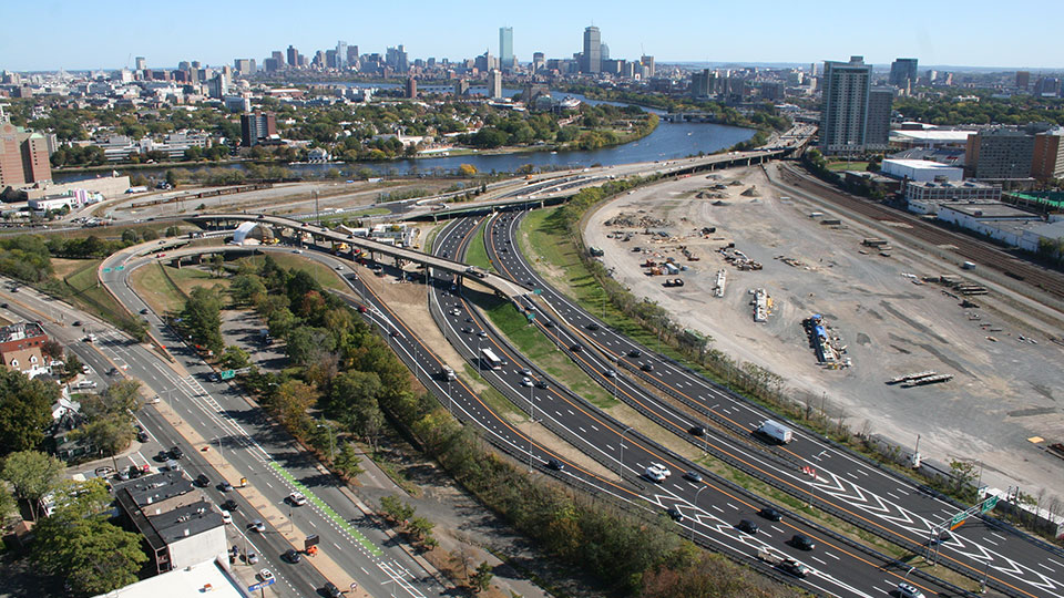 View of the aging viaduct, highway to be realigned, and former rail yard slated for redevelopment in the Boston area