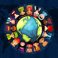 Illustration of Indigenous Peoples around a globe with the International Day of the World's Indigenous Peoples title.