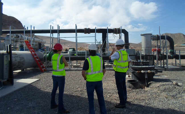 Tetra Tech engineers evaluating steps to get a client's site ready for a beneficial-use project