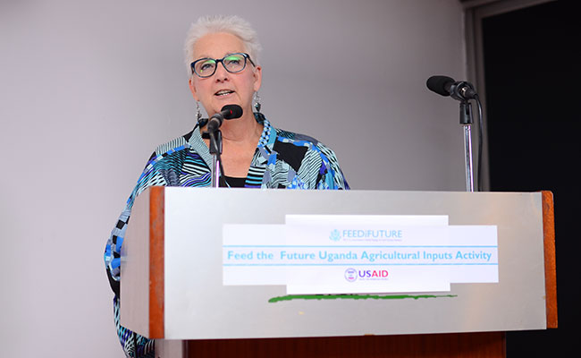 U.S. Ambassador to Uganda, Deborah R. Malac, speaking at the Ag Inputs Learning Close-out event