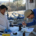 Engineers Without Borders UK engineer tests water samples in a rural community in Mexico