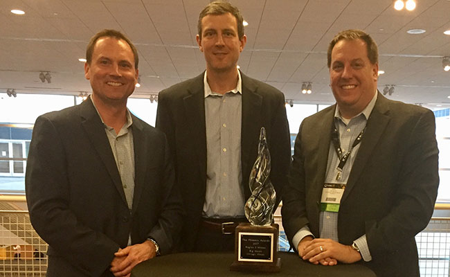 Accepting a Phoenix Award for excellence in brownfield redevelopment