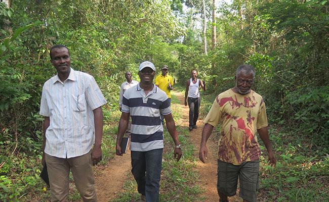 Lamine (pictured left) walks to a WA-BiCC project site with team members in Ghana