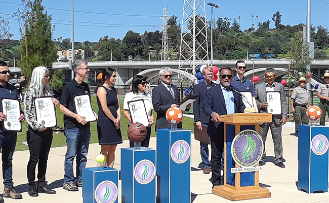 The City of Los Angeles gives commendations for the development of Albion Riverside Park