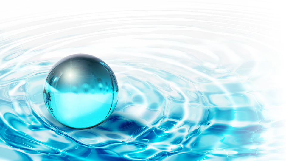 Image shows a blue ball on wavy background to illustrate the interconnected nature of One Water solutions