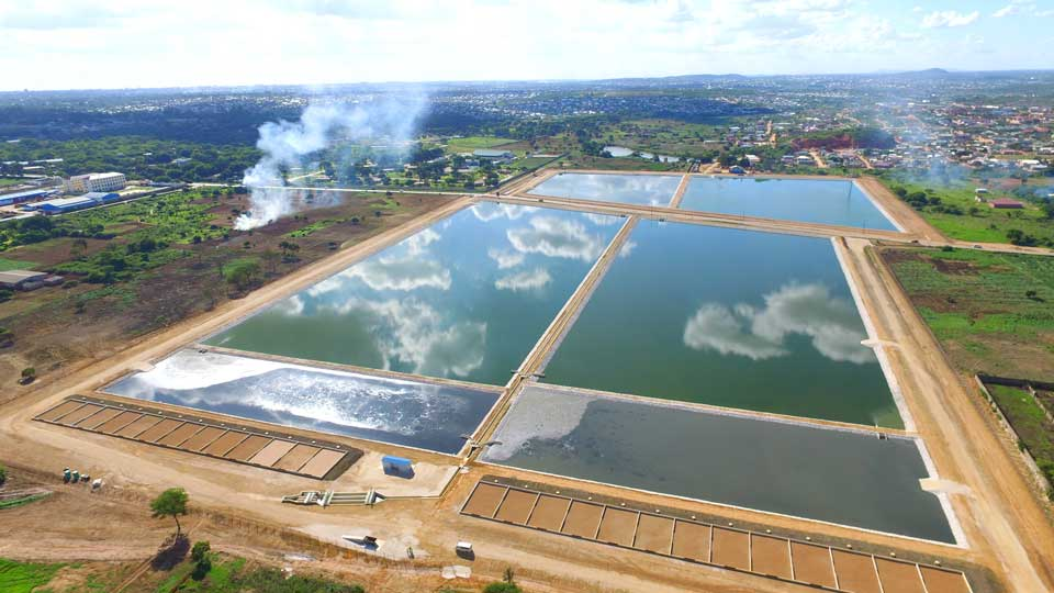 Overhead view of ponds that are part of the Lusaka Supply, Sanitation, and Drainage Project in Zambia