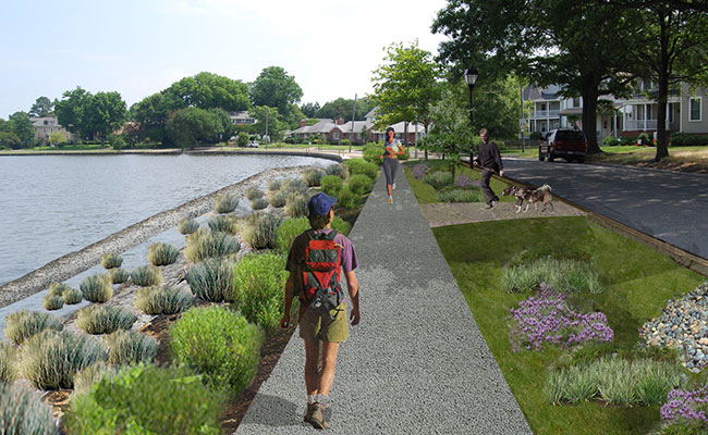 Tetra Tech identified Green Infrastructure projects to reduce stormwater pollutants and provide sea level resilience in