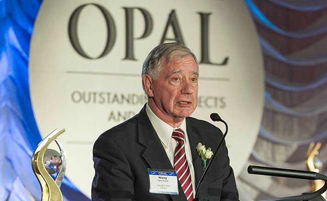Dr. Harry Poulos at the March 2017 ASCE OPAL Awards Gala in Arlington, Virginia.