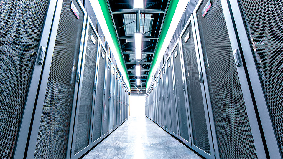 Cold Aisle in Data Center Hall.