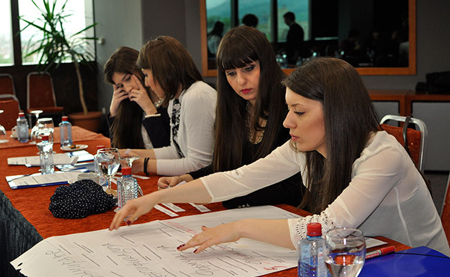 Students participate in a training on project cycle management hosted by the Macedonian Young Lawyers Association for me