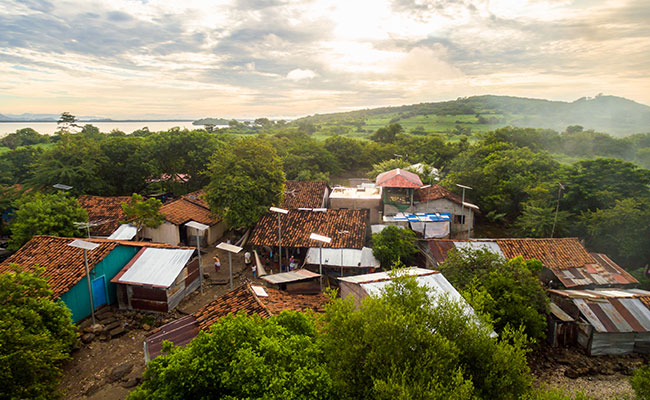 Solar panels were installed at Perico Island in El Salvador to improve living conditions