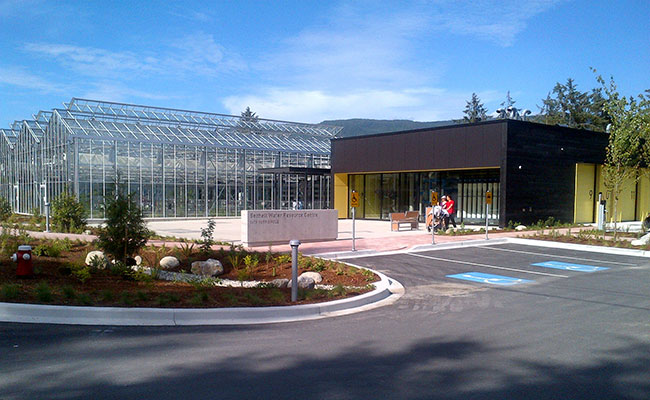 The Sechelt Water Resource Centre, which is pending LEED Gold Certification, provides public access, with park space aro
