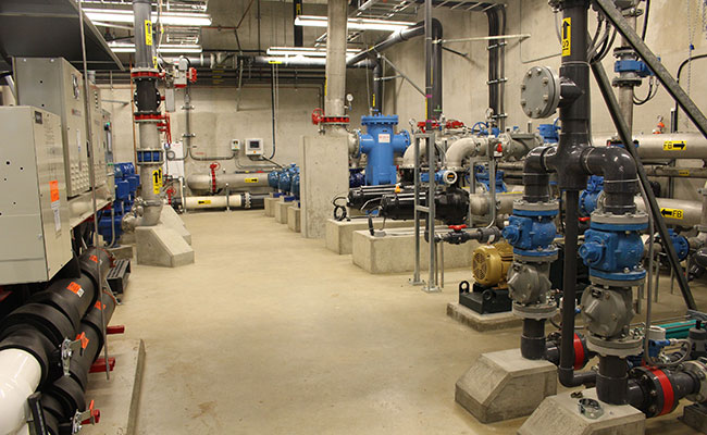 The pump room of the  Sechelt Water Resource Centre provides access for operational and maintenance in relatively confin