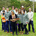 Aboriginal Riverkeeper team with ELA project manager, who is holding the coolamon and digging stick that the team gifted