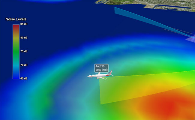 Volans environmental analysis and design tool allows for 3D viewing of aircraft noise footprint and flight procedure imp
