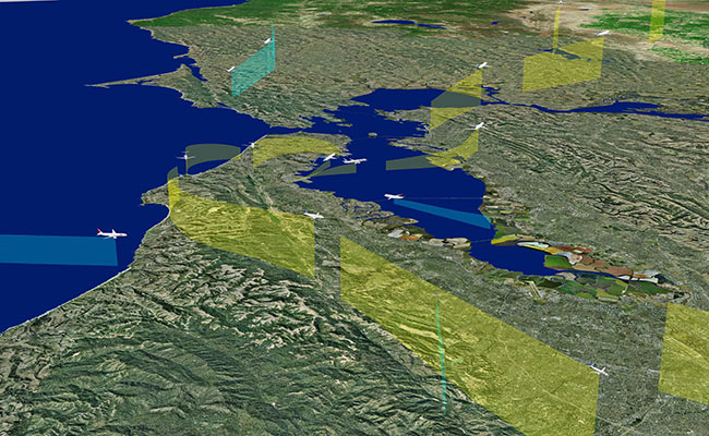 Volans visualizes 3D aircraft models to customize viewing of flight tracks, curtains and trails by climb rate, and notio