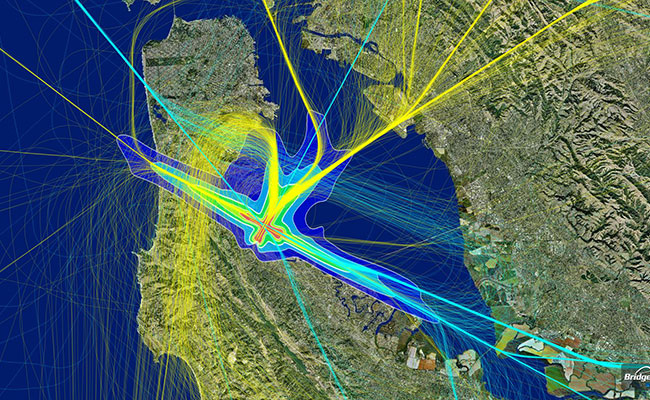 Volans displays 3D flight tracks and flight path playback with aerial, terrain, street, and chart map set view for multi