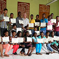 Citizen journalism workshop participants proudly display their certificates of participation at the end of the two-day w