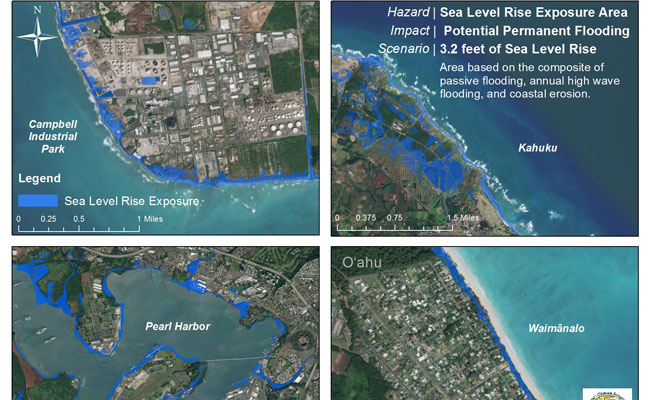 The sea level rise exposure area depicts chronic coastal flooding with sea level rise using the modeling results of of p