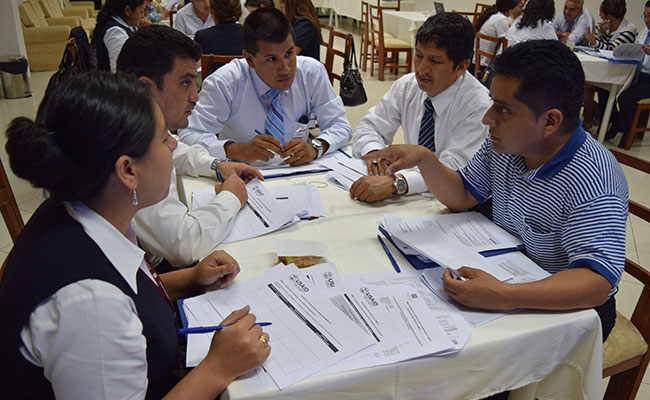 Participants gather at a planning workshop in Moyobamba, Peru, on the Criminal Procedure Code