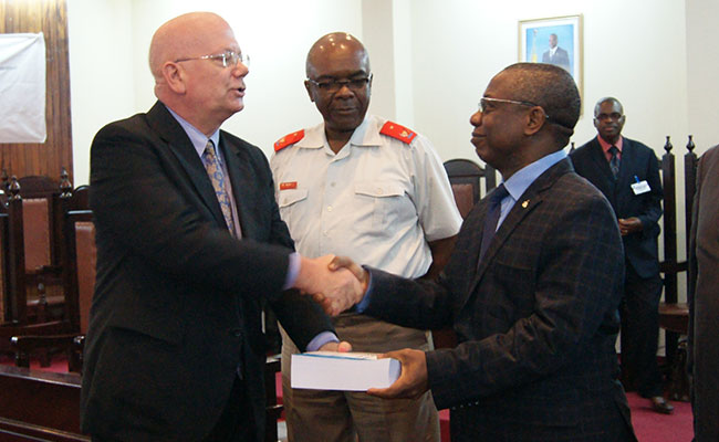 James Entwhistle, U.S. Ambassador to the DRC, and Jerome Kitoko Kimpele, President of the DRC Supreme Court and CSM, at