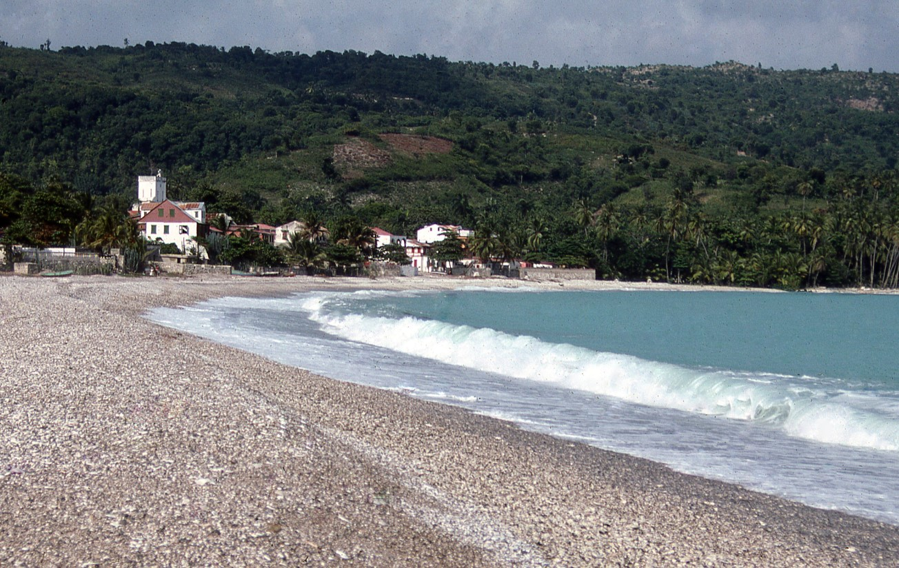 Waves crash on a beach in Haiti