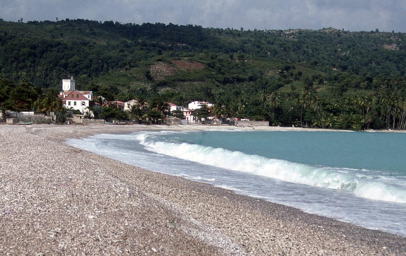 Waves crash on a beach in Haiti