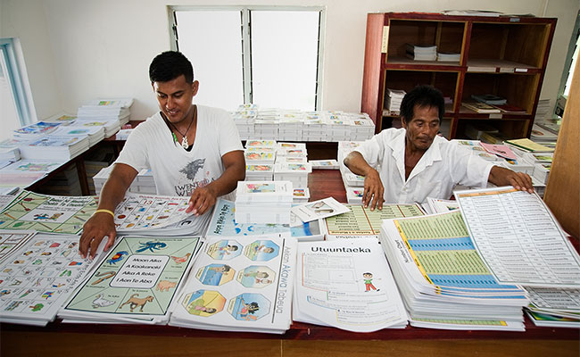 Preparing teaching and learning resources at the Curriculum Development Resource Centre, supported by KEIP in Kiribati